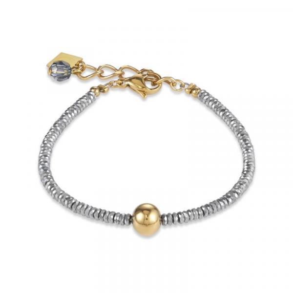 Armband Hämatit silber & Edelstahl gold
