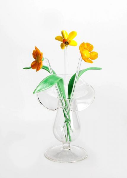 3 x Blume gelb + 3 x Blatt + Väschen BC_BS_SBG