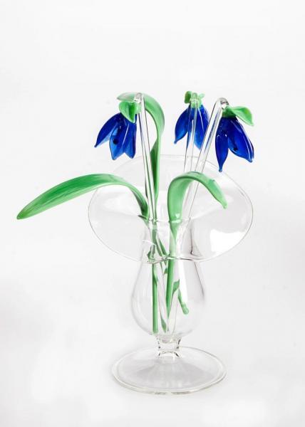 3 x Veilchen blau + 3 x Blatt + Väschen BC_BS_SVB