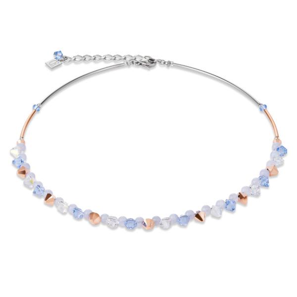Halskette Swarovski® Kristalle & Chalzedon hellblau