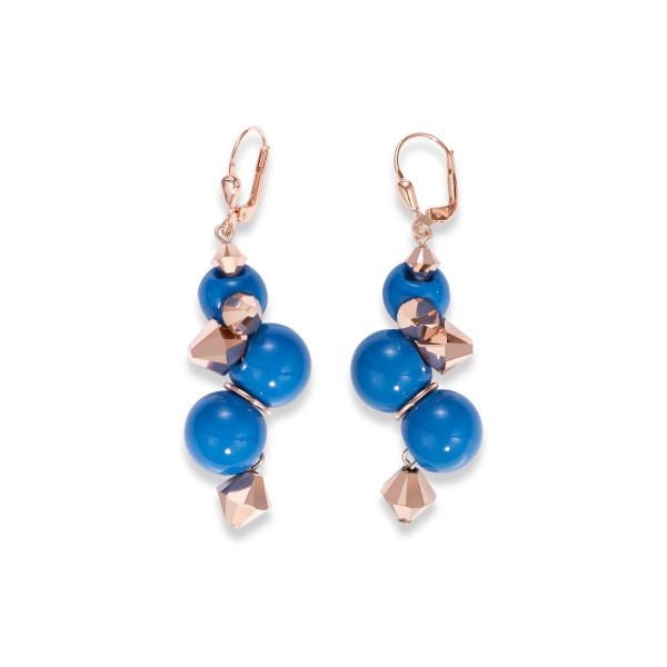 Ohrringe Acrylglas blau & Swarovski® Kristalle roségold