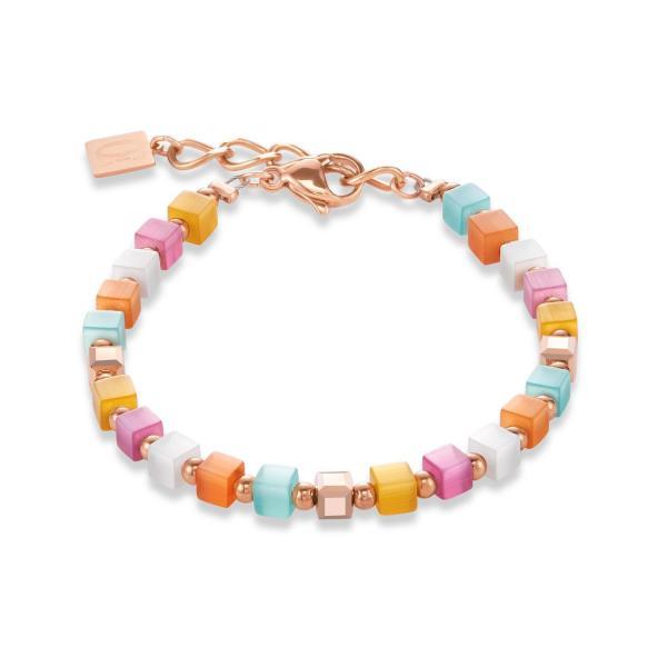 Armband GeoCUBE® small synthetisches Tigerauge & Swarovski® Kristalle multicolor pastell 1