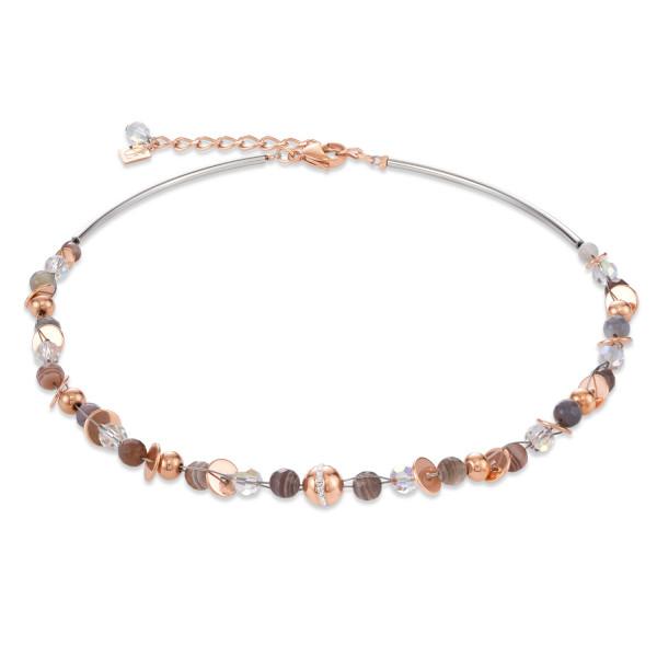 Halskette TwistedPEARLS Botswana Achat & Edelstahl roségold beige-grau