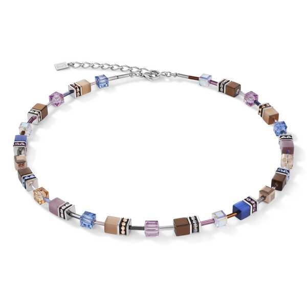 GeoCUBE® Halskette blau-braun-flieder