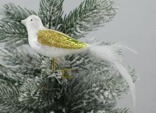 Eisweissgrün Waldvogel mit echter Feder EWG_WV