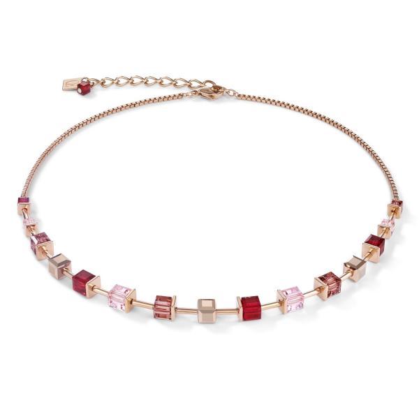 Halskette GeoCUBE® Swarovski® Kristalle & Edelstahl roségold rot 4996_10-0300