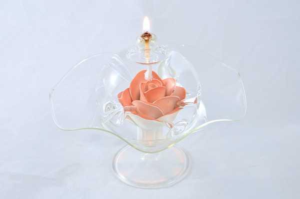 Öllampe mit roter/weißer Rose und Glasschale