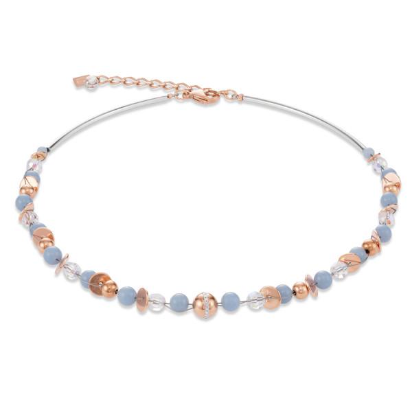 Halskette TwistedPEARLS Angelit & Edelstahl roségold hellblau 4993_10-0720