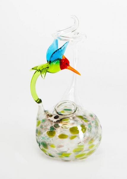 Rosenvase klein mit Kolibri/Vogel und grüner Glasaufschmelzungen BC-RVK-GR