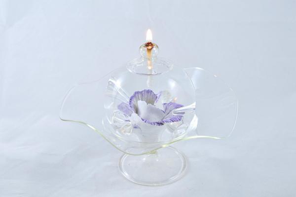 Öllampe mit lila-weiß Wildrose und Glasschale