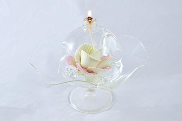 Öllampe mit rosé-gelber Wildrose und Glasschale OL_WR_RG_S