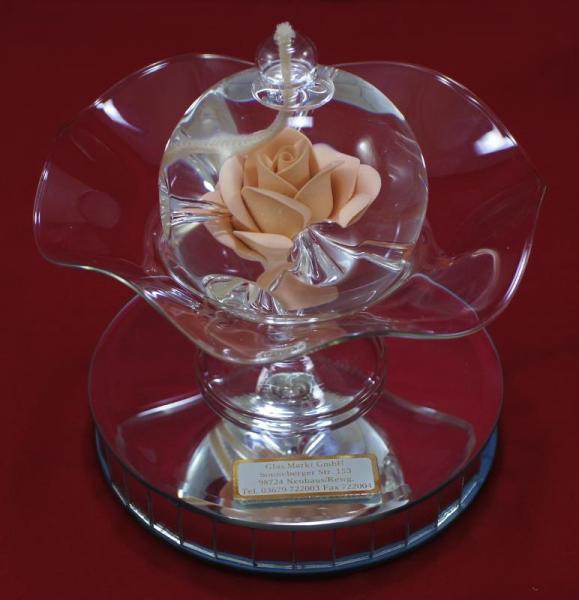 Öllampe mit apricot Rose und Glasschale