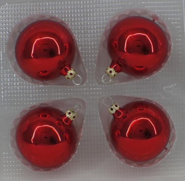 Rot Uni Kugeln 6cm - 4er Set