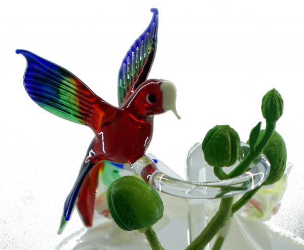 Papagei Blumenstab / Orchideenstab aus Glas BS_P1