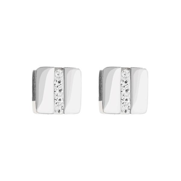 Ohrringe Edelstahl Quadrat & Kristall Pavé Streifen kristall 0125_21-1800