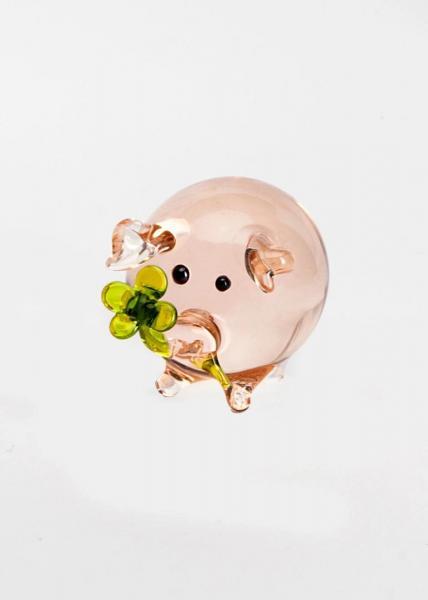 Glücksschwein Rosa mit grünem Kleeblatt aus Glas BC-GS-RO