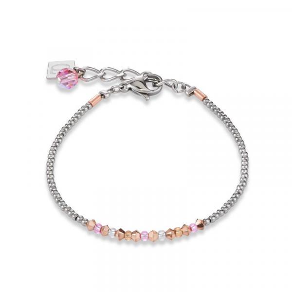 Armband Ring Kristall Pavé rosa small & Edelstahl roségold & silber