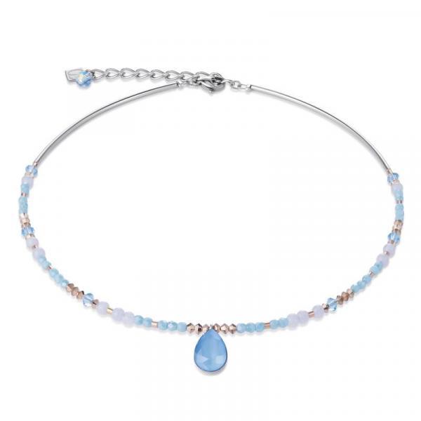 Halskette Tropfen Swarovski® Kristalle & Chalzedon blau