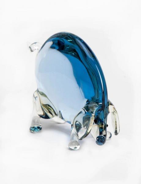 Schwein aus Glas Kristall / Blau BC-GS-KB