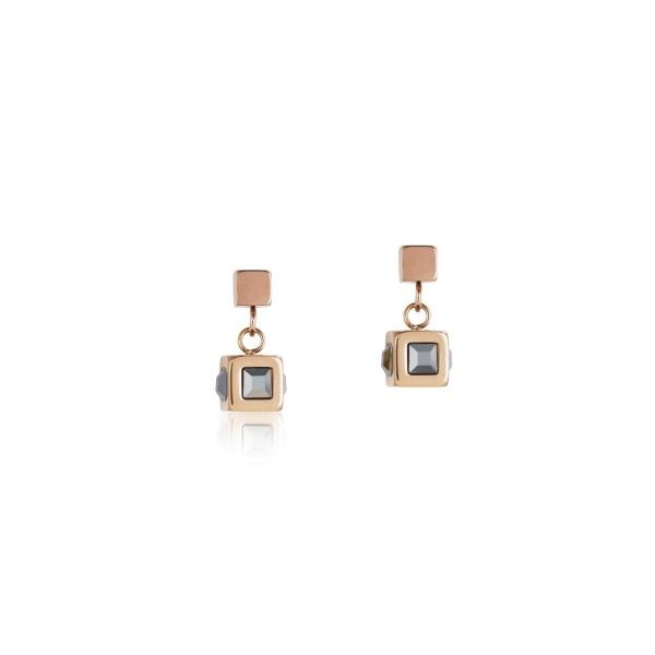 Ohrringe Cube Edelstahl roségold & Kristall anthrazit 0150_21-1225