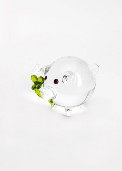 Glücksschwein Kristall mit grünem Kleeblatt aus Glas BC-GS-KR