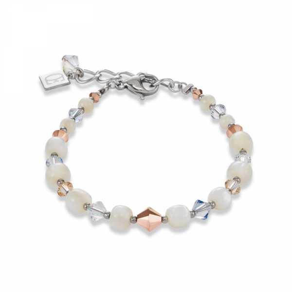 Armband Perlmutt, Swarovski® Kristalle & Edelstahl roségold-kristall