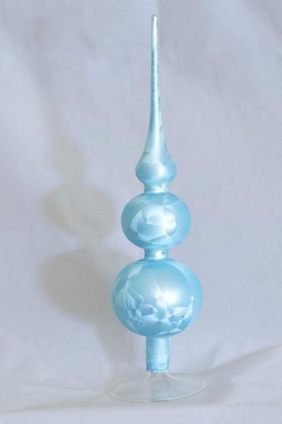 Eisblau Uni Spitze mit 8er und 7er Kugel (H:32cm) EBU_SP87
