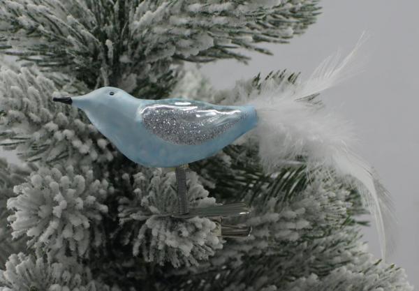 Eisblau Vogel mit echter Feder EB_VO