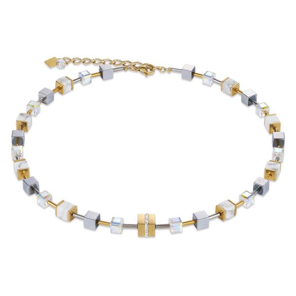 Halskette GeoCUBE® Edelstahl & Kristall Pavé, Swarovski® Kristalle & Howlith gold-weiß