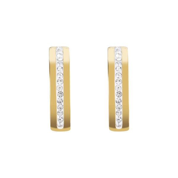 Ohrringe Edelstahl gold & Kristall Pavé Streifen kristall