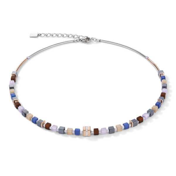 Halskette GeoCUBE® Edelstahl roségold & Kristall Pavé blau-braun