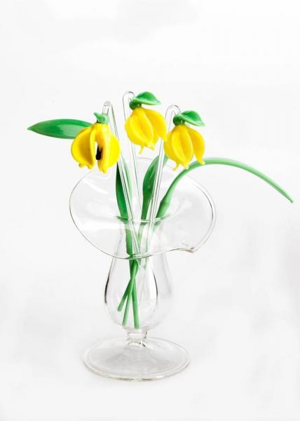 3 x Glockenblume gelb + 3 x Blatt + Väschen BC_BS_SGBG