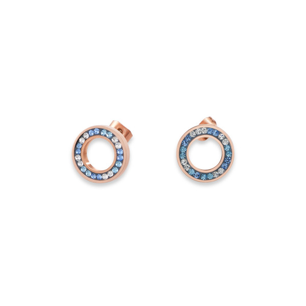 Ohrringe Ring Kristall Pavé blau small & Edelstahl roségold & silber
