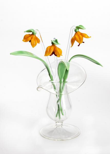 3 x Glockenblume orange + 3 x Blatt + Väschen BC_BS_SGBO