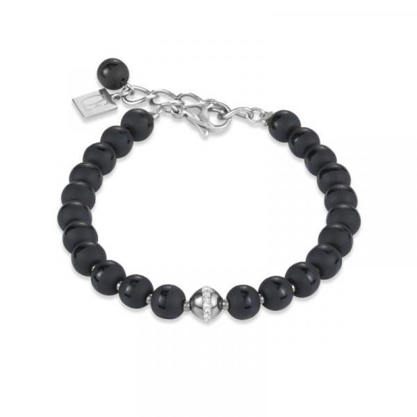 Armband Kugel Onyx & Edelstahl silber & Kristall Pavé kristall 4971_30-1700