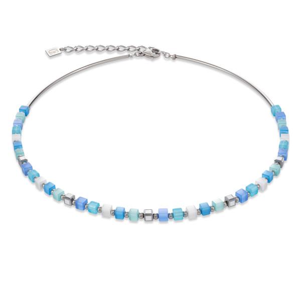 Halskette GeoCUBE® small synthetisches Tigerauge & Swarovski® Kristalle blau-türkis