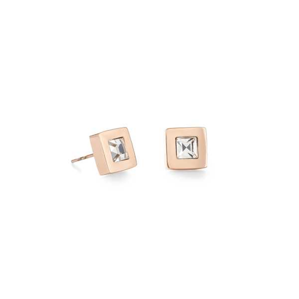 Ohrringe Quadrat Edelstahl roségold & Kristall