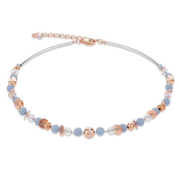 Halskette TwistedPEARLS Angelit & Edelstahl roségold hellblau