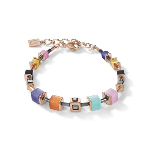 Armband GeoCUBE® Cube Edelstahl roségold & Kristall multicolor couture 5050_30-1575