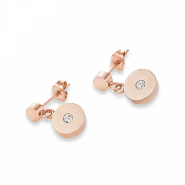 Ohrringe Coins Edelstahl roségold, geschliffenes Glas & Swarovski® Kristalle weiß