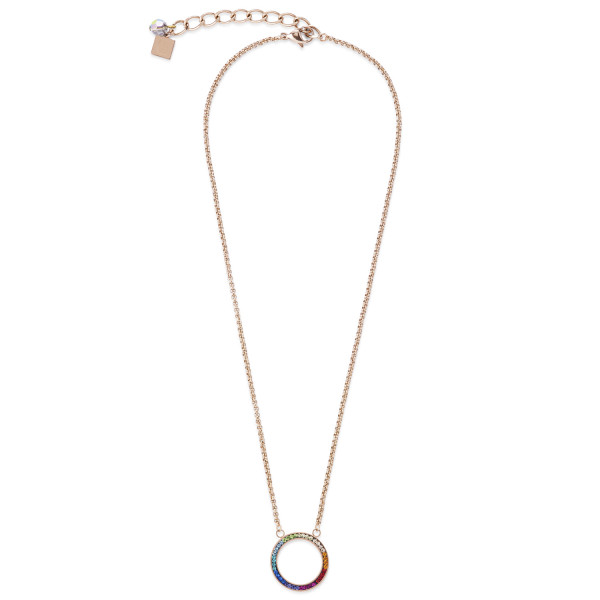 Halskette Ring Kristall Pavé & Edelstahl roségold & multicolor