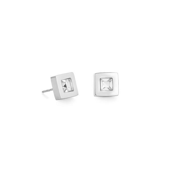 Ohrringe Quadrat Edelstahl silber & Kristall 0140_21-1817