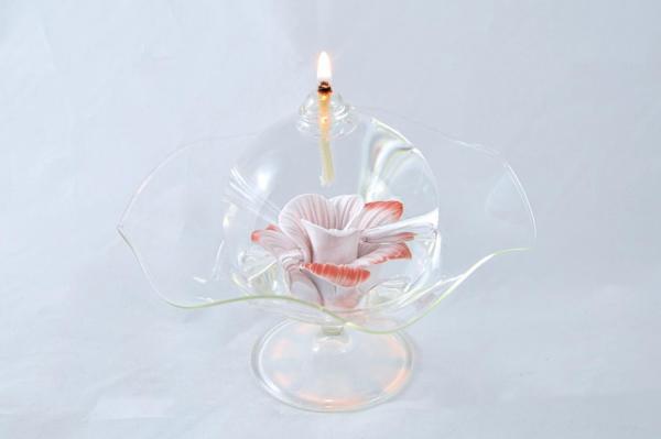 Öllampe mit rosé-roter Wildrose und Glasschale OL_WR_RR_S
