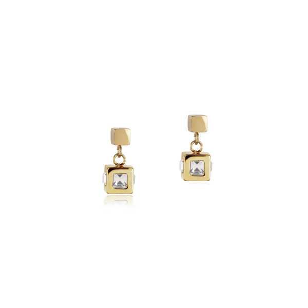 Ohrringe Cube Edelstahl gold & Kristall