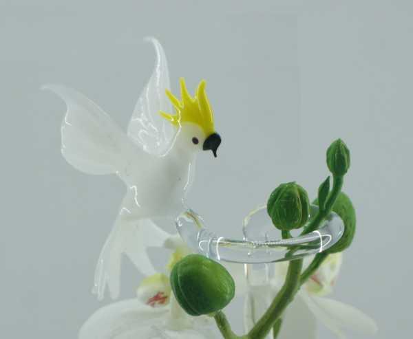 Kakadu Blumenstab / Orchideenstab aus Glas