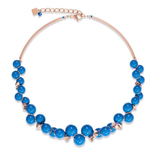 Halskette Acrylglas blau & Swarovski® Kristalle roségold