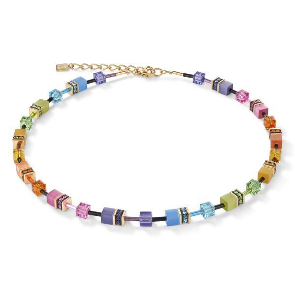 GeoCUBE® Halskette multicolor rainbow gold