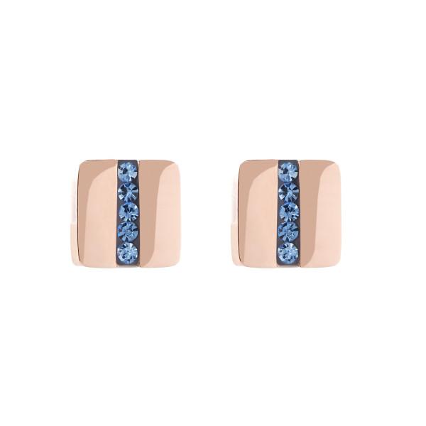 Ohrringe Edelstahl Quadrat roségold & Kristall Pavé Streifen hellblau