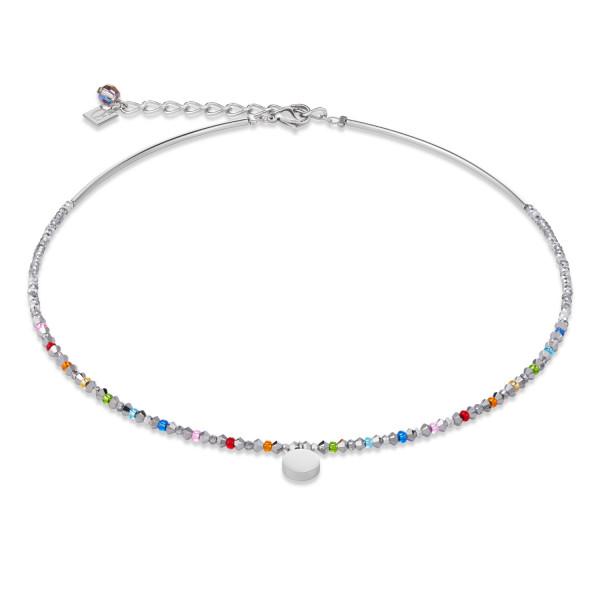Halskette Coin Swarovski® Kristalle & Edelstahl multicolor-silber