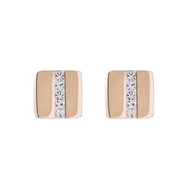 Ohrringe Edelstahl Quadrat roségold & Kristall Pavé Streifen kristall
